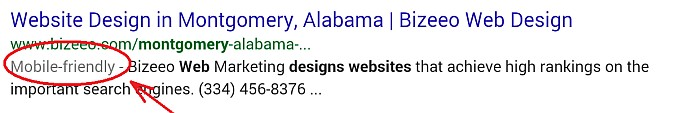 "Mobile-friendly Websites in Montgomery, AL - screen capture of Google ""mobile-friendly"" search results"