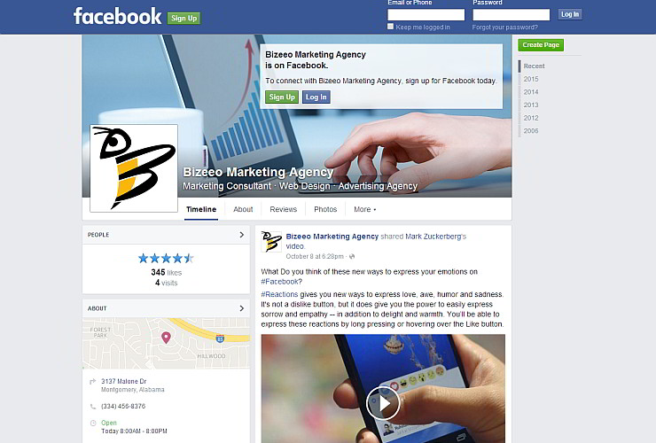 Logomark on Facebook - Bizeeo Marketing Montgomery AL