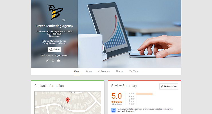 Profile Image on Google+ Local Listing - Bizeeo Marketing Agency Montgomery AL
