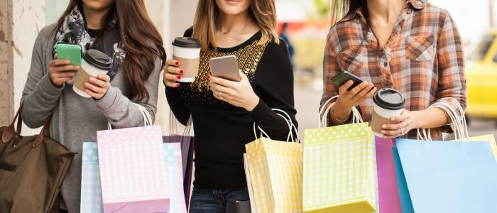 Website Branding in Prattville, AL - three women shopping on smartphone