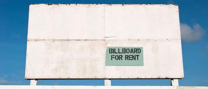 Empty billboard for rent
