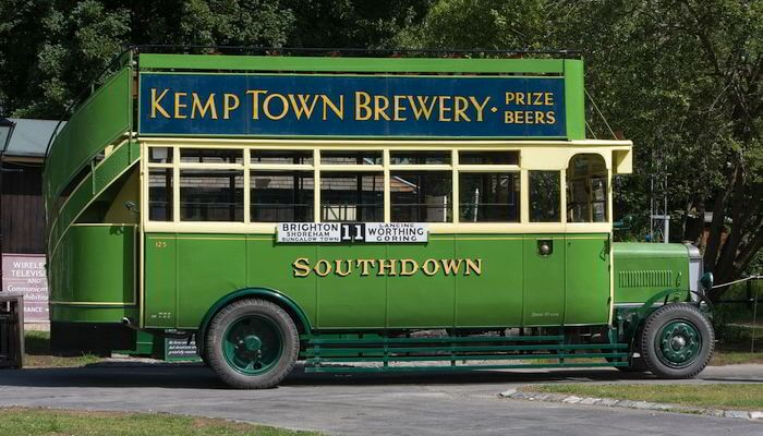 Advertising on vintage bus - Kemp Town Brewery